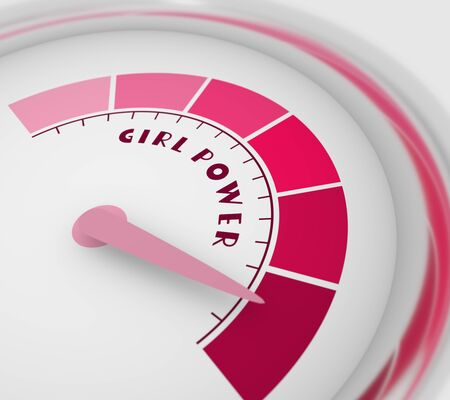 Color scale with arrow from pink to dark pink. The measuring device icon. Girl power text. 3D rendering