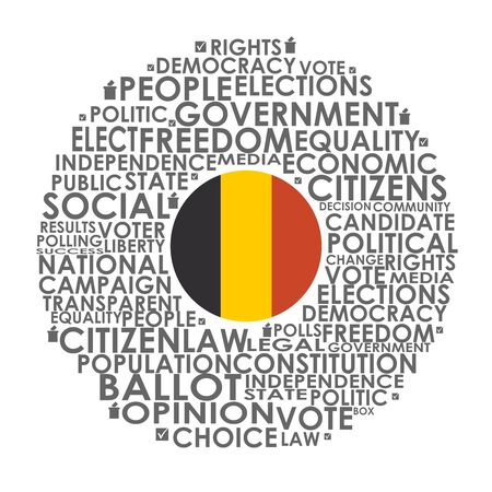 Words cloud relative for voting. Circle frame. Flag of the Belgium