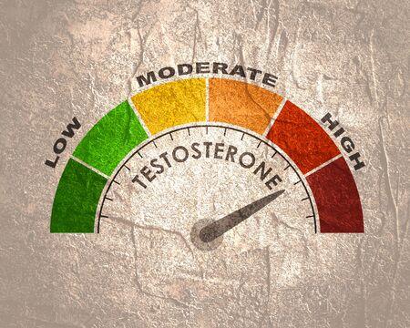 Scala di misurazione del livello di testosterone dell'ormone. Illustrazione del concetto di assistenza sanitaria.
