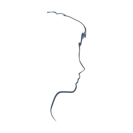 Face profile view. Elegant silhouette of a female head. Beautiful woman portrait. Thin line style