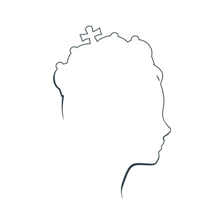 Profile view silhouette of a princess or queen. Cute girl portrait. Fashion branding emblem. Thin line style