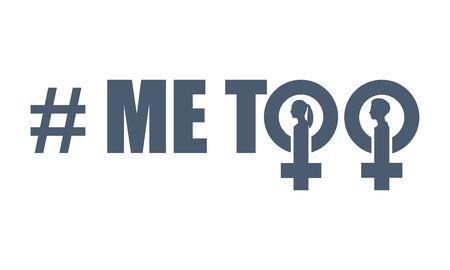 Moi aussi hashtag. Mouvement social concernant les agressions et le harcèlement. Icône de signe féminin. Silhouette de tête de femme.