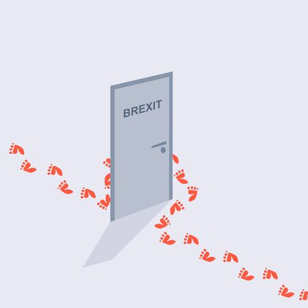 Image relative to politic situation between great britain and european union. Politic process named as brexit. Human footprints bypass the door with the inscription Brexit text