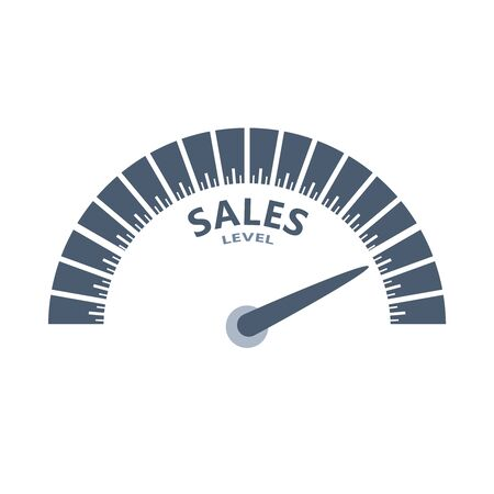 Color scale with arrow. The sales level measuring device icon. Sign tachometer, speedometer, indicators. Infographic gauge element. Ilustrace