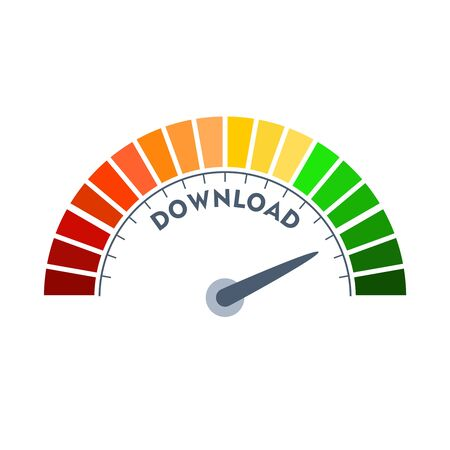 Color scale with arrow from red to green. The download speed measuring device icon. Sign tachometer, speedometer, indicators. Colorful infographic gauge element. Reklamní fotografie - 134439531