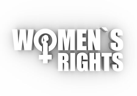 Female sign icon in womens rights text. Silhouette of woman head. 3D rendering 免版税图像