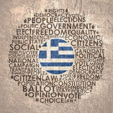 Words cloud relative for voting. Circle frame. Flag of the Greece Reklamní fotografie