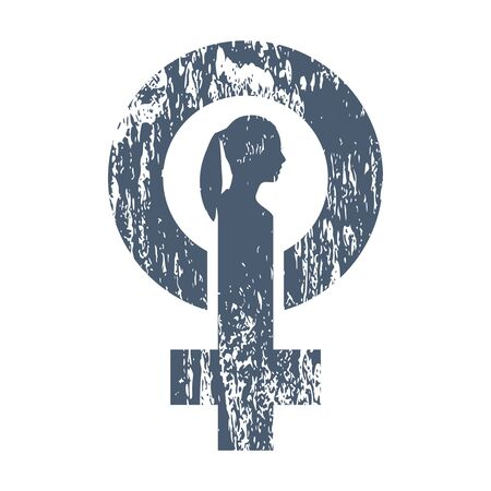 Female sign icon. Silhouette of woman head. Grunge texture