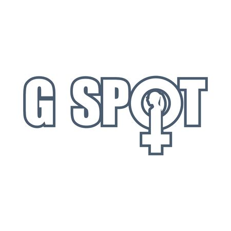 Metaphor of exploring female sexuality. Spot-g erogenous zone emblem. Female sign icon. Silhouette of woman head. Thin line style