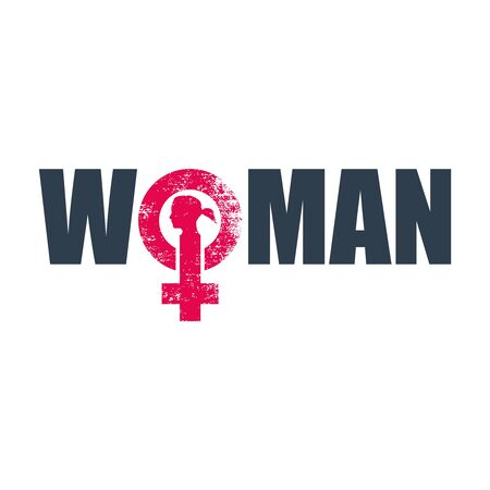 Female sign icon in woman word. Silhouette of woman head. Grunge texture