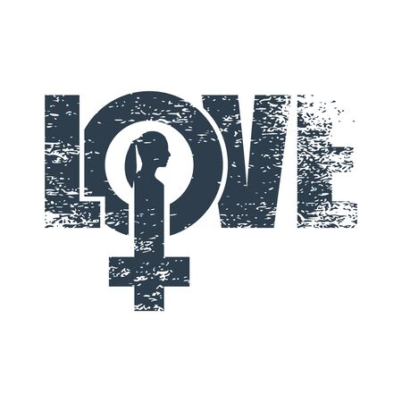 Female sign icon in love word. Silhouette of woman head. Grunge texture
