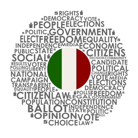 Words cloud relative for voting. Circle frame. Flag of the Italy