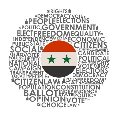 Words cloud relative for voting. Circle frame. Flag of the Syria