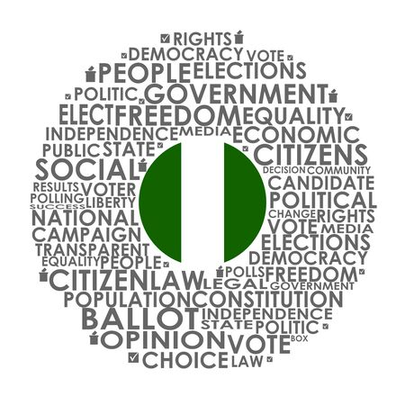 Words cloud relative for voting. Circle frame. Flag of the Nigeria
