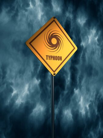 Road Sign Warning About Tornado. Twister Hurricane Countryside Wind Swirl. 3D rendering Stock Photo