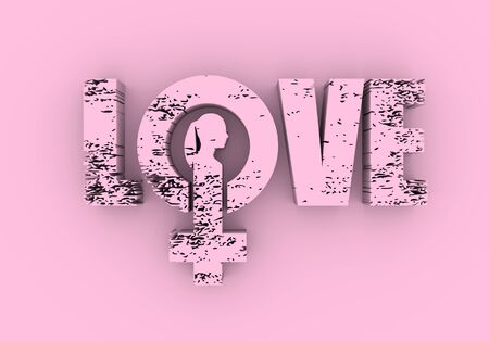 Female sign icon in love word. Silhouette of woman head. 3D rendering Stock fotó