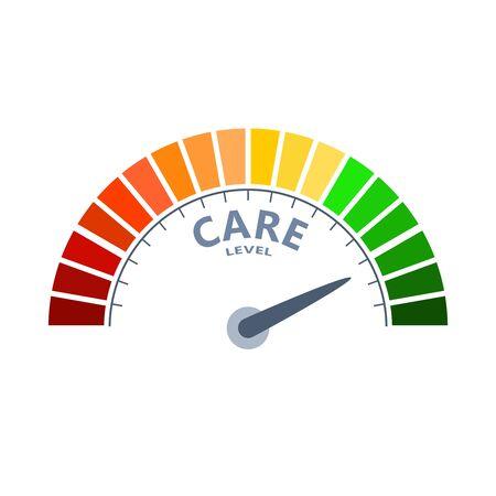 Scala di colori con freccia dal rosso al verde. L'icona del dispositivo di misurazione del livello di cura. Segno contagiri, tachimetro, indicatori. Elemento di misura infografica colorato.