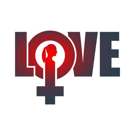 Female sign icon in love word. Silhouette of woman head Çizim