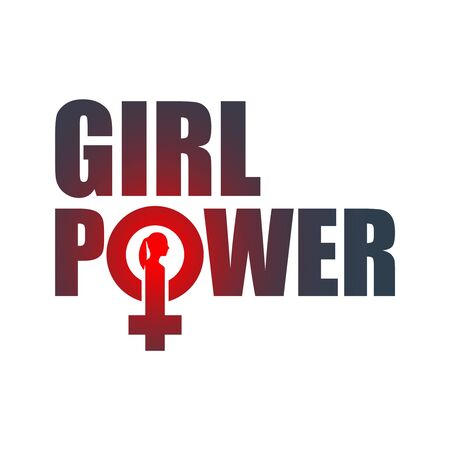 Girl power. Feminism quote, woman motivational slogan. Feminist saying. Typography poster. Female sign icon. Silhouette of woman head Çizim
