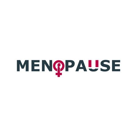 Female sign icon in menopause word. Silhouette of woman head. Woman health Illustration