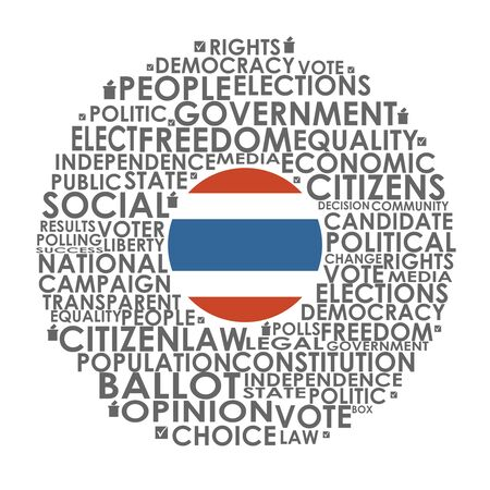 Words cloud relative for voting. Circle frame. Flag of the Thailand