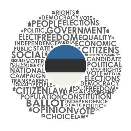Words cloud relative for voting. Circle frame. Flag of the Estonia