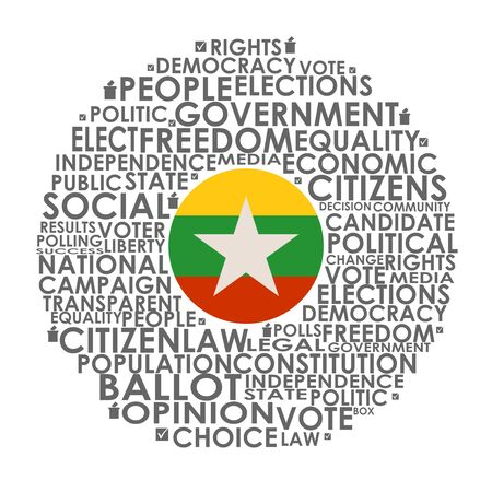 Words cloud relative for voting. Circle frame. Flag of the Myanmar