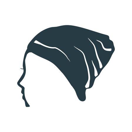 Face profile view. Elegant silhouette of a female head. Beautiful woman portrait. Thin line style Stock Illustratie