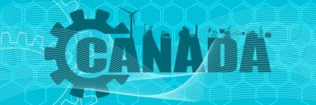 Energy and Power icons. Sustainable energy generation and heavy industry. Canada word decorated by gear. Horizontal industrial web banner