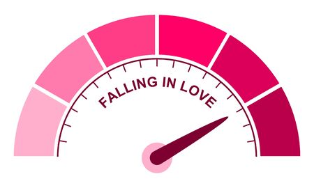 Color scale with arrow from pink to dark pink. The measuring device icon. Sign tachometer, speedometer, indicators. Illustration in flat style. Colorful infographic gauge element. Love meter