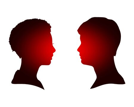 Man and woman silhouettes looking at each other. Happy valentines day and wedding design elements. Side view.