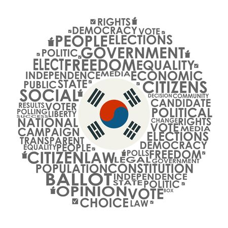 Words cloud relative for voting. Circle frame. Flag of the South Korea Standard-Bild - 134628216