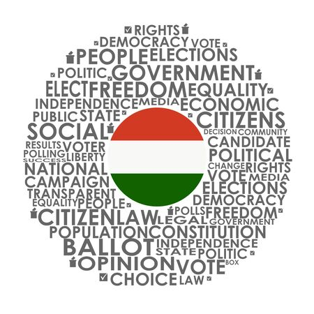 Words cloud relative for voting. Circle frame. Flag of the Hungary Reklamní fotografie