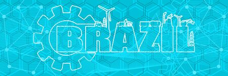 Energy and power icons. Sustainable energy generation and heavy industry. Brazil word decorated by gear. Horizontal industrial web banner
