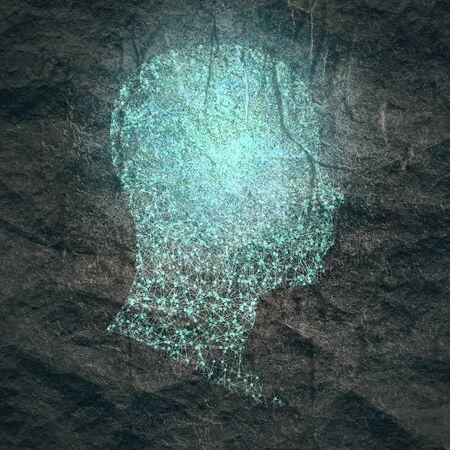 Perfil de la cabeza de un hombre. Plantilla de diseño relativo a la salud mental. Diseños médicos científicos. Texturizado por líneas conectadas con puntos. Foto de archivo
