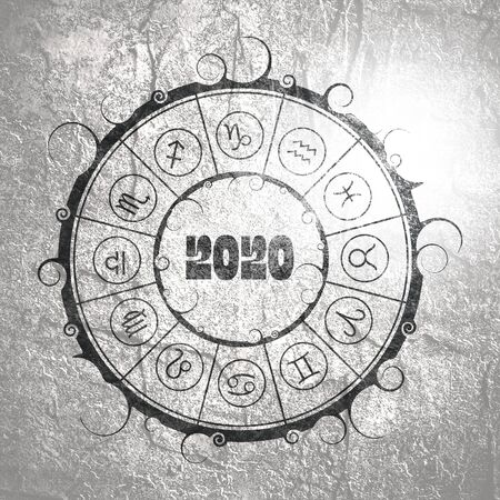 New Year and Christmas celebration card template. Zodiac circle with 2020 new year number. Standard-Bild - 134628240