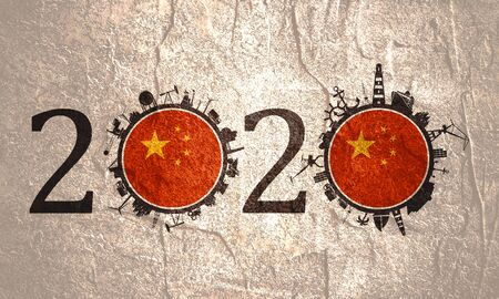 Circle with industry and sea shipping silhouettes. Objects located around the circle. Industrial design background. 2020 year number. Flag of the China Stock Photo