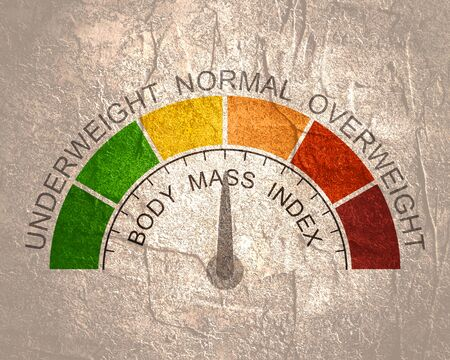 Body mass index meter read normal level result. Color scale with arrow from red to green. The measuring device icon. illustration in flat style. Colorful infographic gauge element