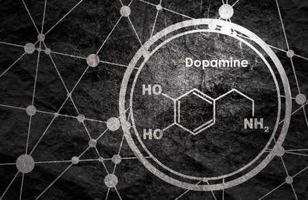 Chemical molecular formula hormone dopamine. Infographics illustration.
