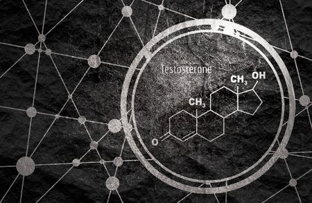Chemical molecular formula hormone testosterone. Infographics illustration.