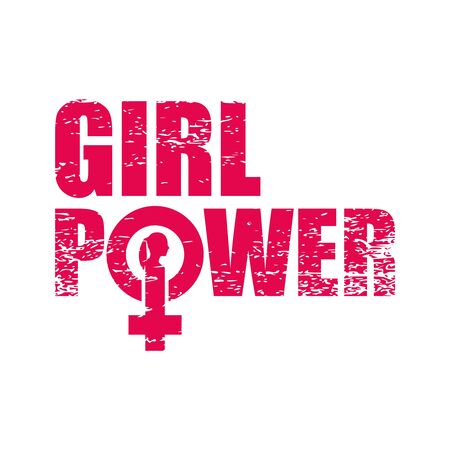 Poder femenino. Cita de feminismo, lema motivacional de mujer. Dicho feminista. Cartel de tipografía. Icono de signo femenino. Silueta de cabeza de mujer. Textura grunge Foto de archivo