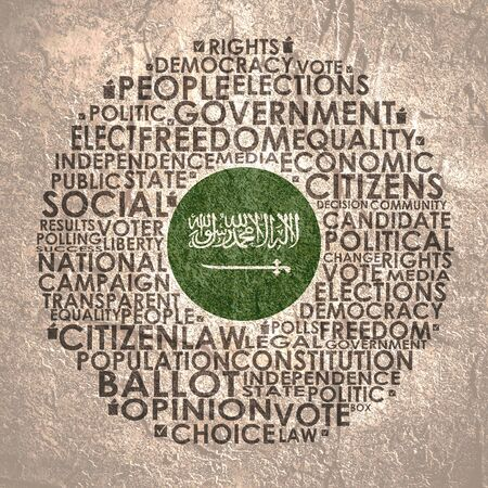 Words cloud relative for voting. Circle frame. Flag of the Saudi Arabia