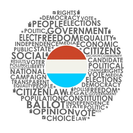 Words cloud relative for voting. Circle frame. Flag of the Luxembourg