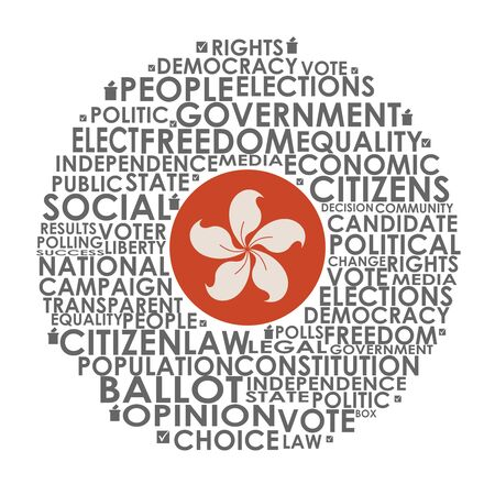 Words cloud relative for voting. Circle frame. Flag of the Hong Kong