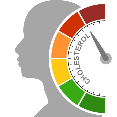 Cholesterol meter read high level result. Color scale with arrow from red to green. The measuring device icon. Colorful infographic gauge element. Head of man silhouette. Иллюстрация