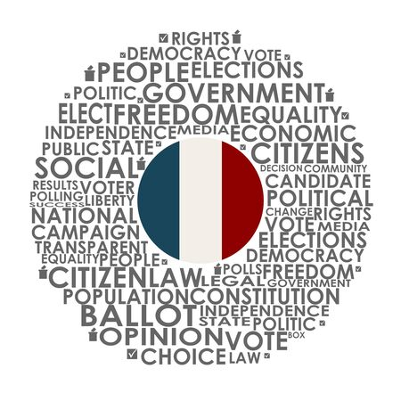 Words cloud relative for voting. Circle frame. Flag of the France Ilustrace