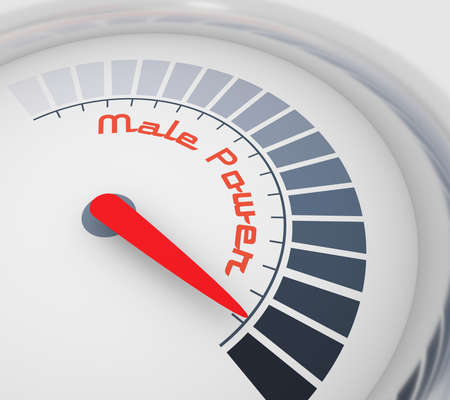 Scale with arrow. The male power level measuring device icon. Sign tachometer, speedometer, indicators.. 3D rendering
