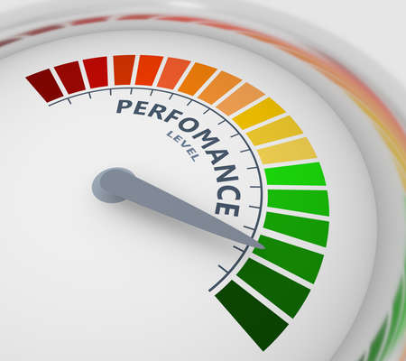 Color scale with arrow from red to green. The perfomance level measuring device icon. Sign tachometer, speedometer, indicators. Colorful infographic gauge element. 3D rendering Reklamní fotografie - 151361426