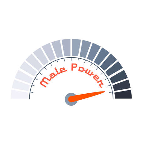 Scale with arrow. The male power level measuring device icon. Sign tachometer, speedometer, indicators. Infographic gauge element.