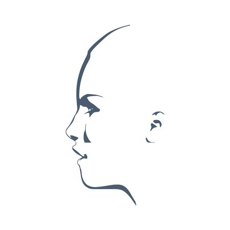 Face side view. Elegant silhouette of a female head. Surprised beautiful woman with open mouth.
